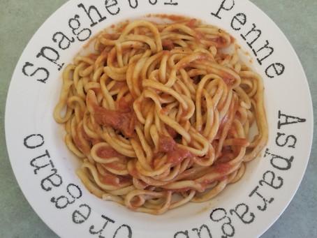 Recipe - garlic basil linguine and Joy's Gourmet alla vodka sauce