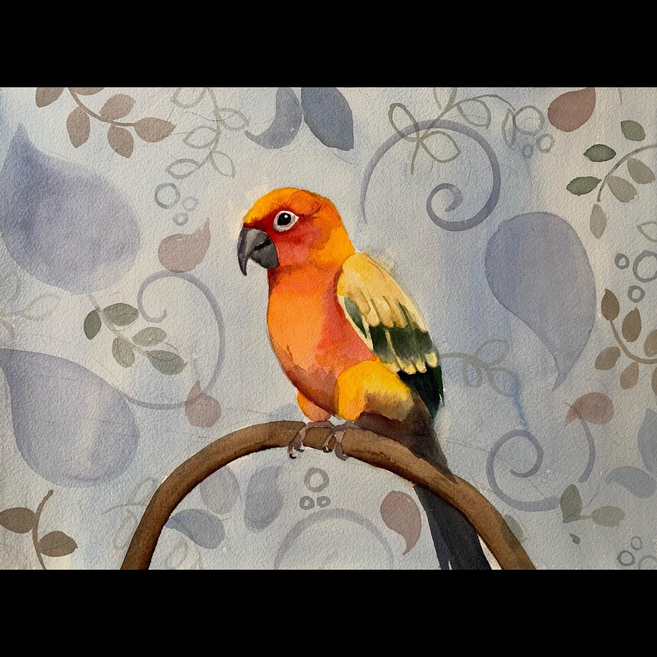 Available - Watercolor Painting - Orange Bird