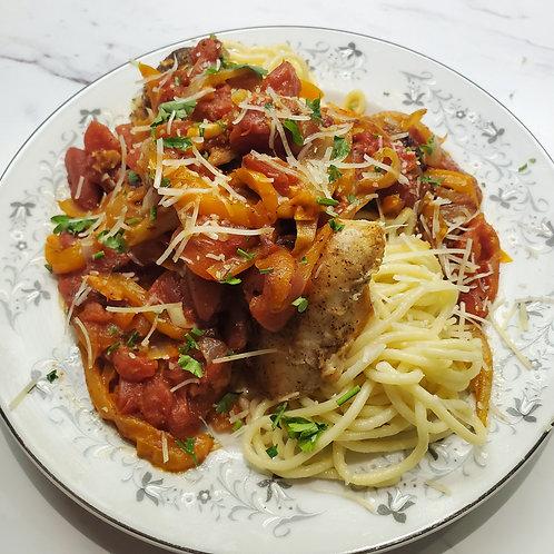 Spaghetti with Chicken alla Cacciatora
