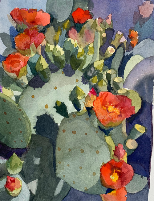 Available - Watercolor Painting - Orange Blooms and Shadows