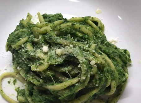 Recipe - garlic basil linguine with sauteed broccoli rabe