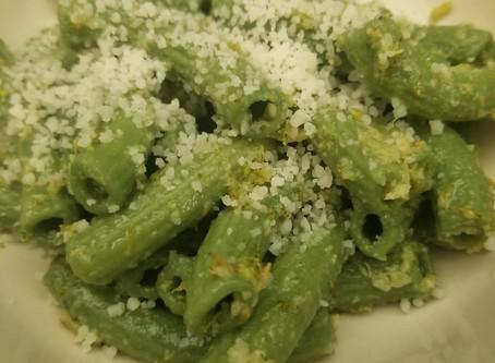 Recipe - spirulina ziti, broccoli, and garlic