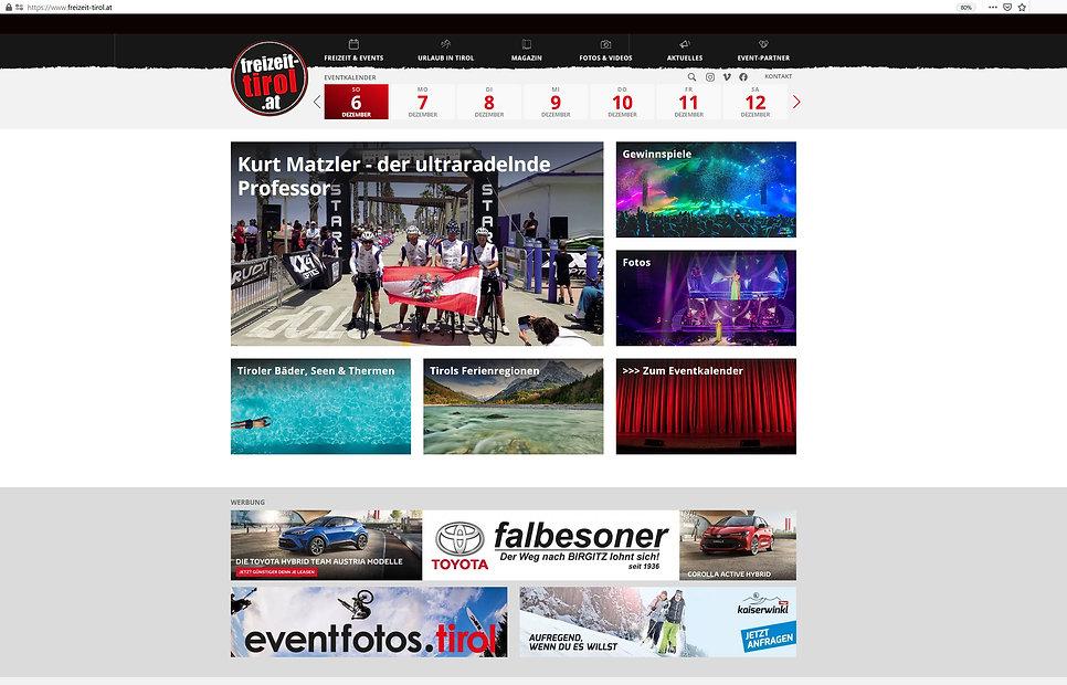 Freizeit-Tirol, Projekt der Werbeagentur INN.PULS in Innsbruck