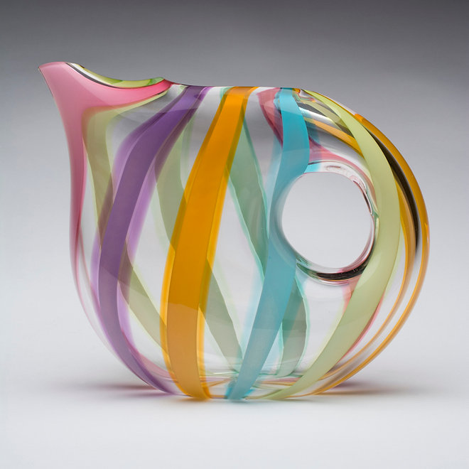 Striped hand blown glass pitcher