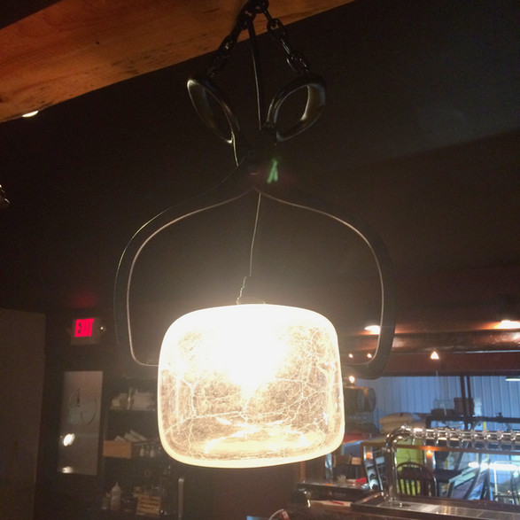 """Ice Block"" light for Watershed Tavern in Boothbay Maine"