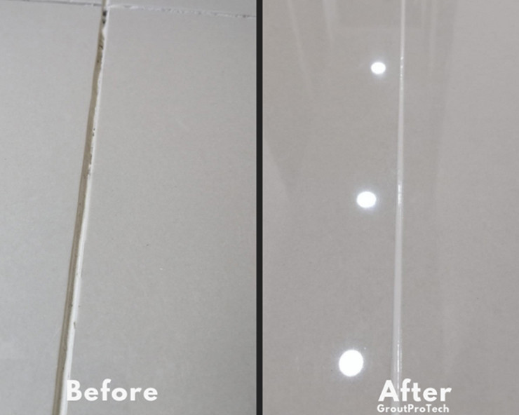 Grout application before and after
