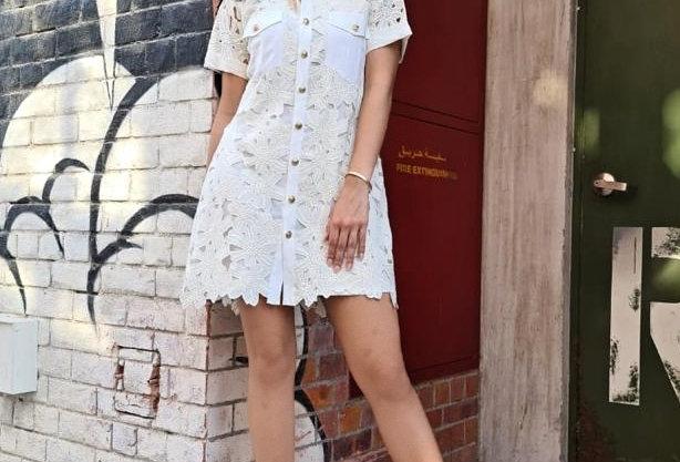 Mia lace shirt dress