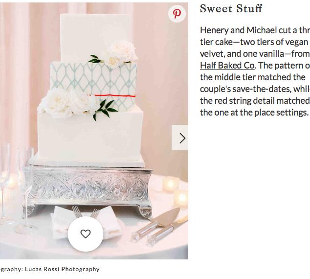Vegan Wedding Cake Feature on Martha Stewart Weddings