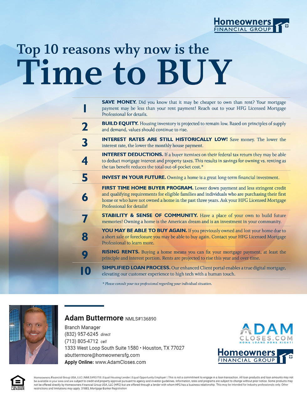 Top 10 Reasons Now is the time to Buy a Home
