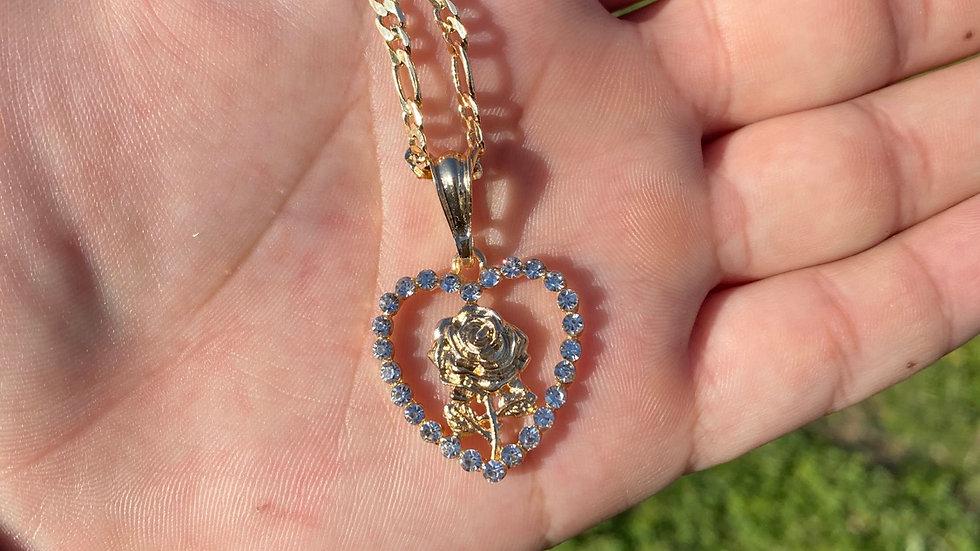 Rosa Corazón brillando oro