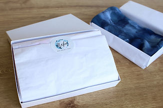 Gift Box showing image of how silk scarves and ties are sent by maker who doesn't make
