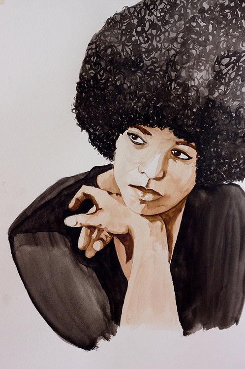 Famous Woman: Angela Davis Watercolor Portrait