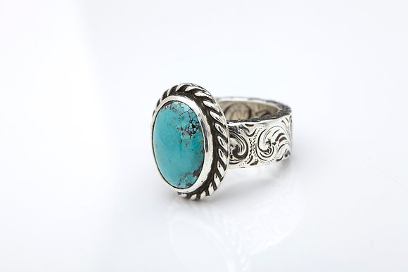 King Ring with bezeled turquoise