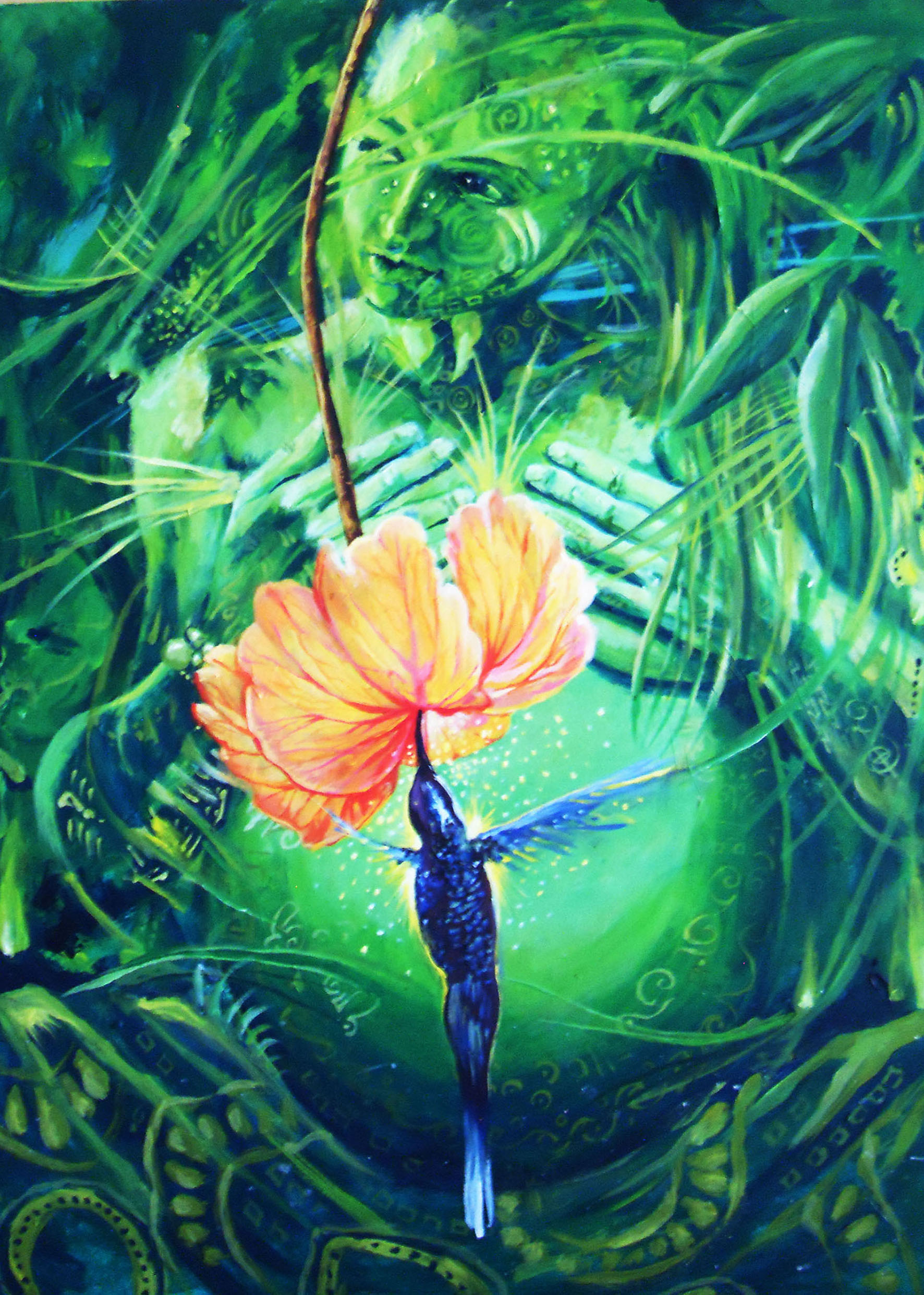 Colibri y flor