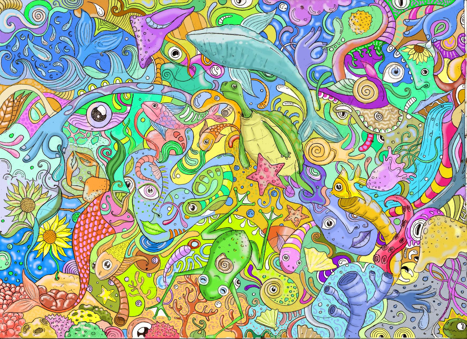 Boceto Espiritu del agua, el origen de la vida