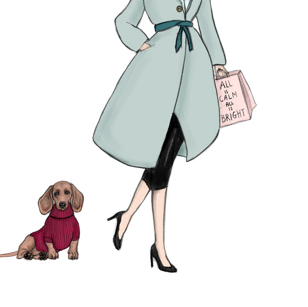 Dachshund and Lady