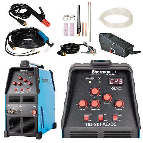 Sherman TIG 201 AC/DC Welder Inverter 200A + Foot pedal controller