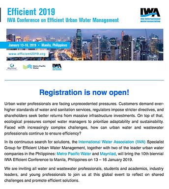 IWA Efficient 2019:Water Efficiency - Driving Sustainable Development