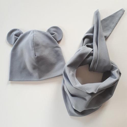 Dviguba kepurė ir kaklaskarė MOUSE gray