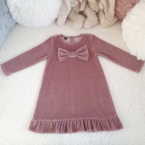 Veliūrinė suknelė su kaspinu VELOUR light plum