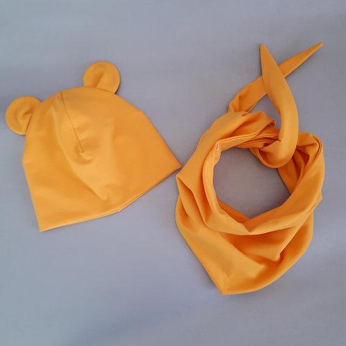 Dviguba kepurė ir kaklaskarė MOUSE yellow