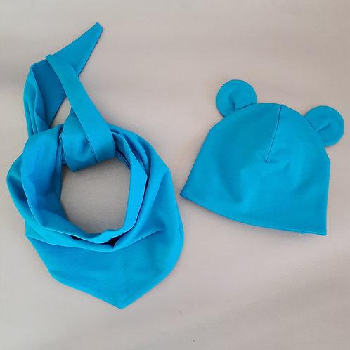 Dviguba kepurė ir kaklaskarė MOUSE turquoise
