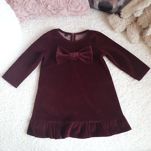 Veliūrinė suknelė su kaspinu VELOUR bordo