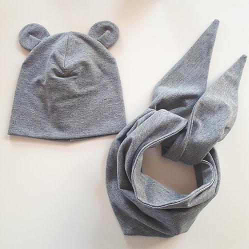 Dviguba kepurė ir kaklaskarė MOUSE gray glitter