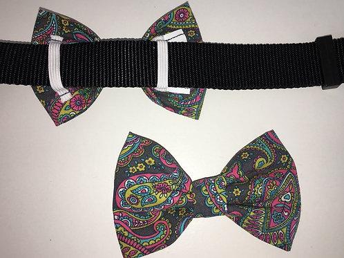 Grey Paisley Bow Tie