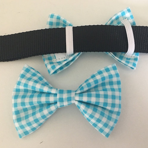 Turquoise Gingham Bow Tie