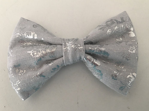 Silver Floral Bow Tie