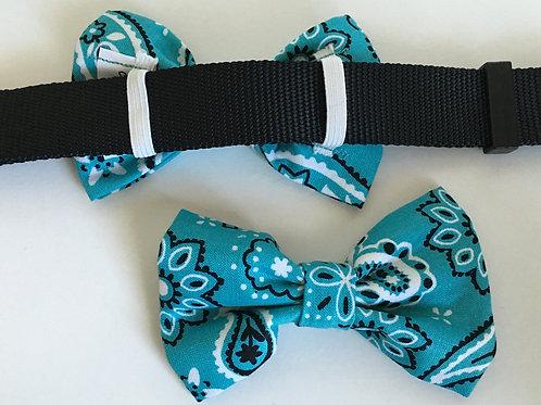Turquoise Bandana Bow Tie