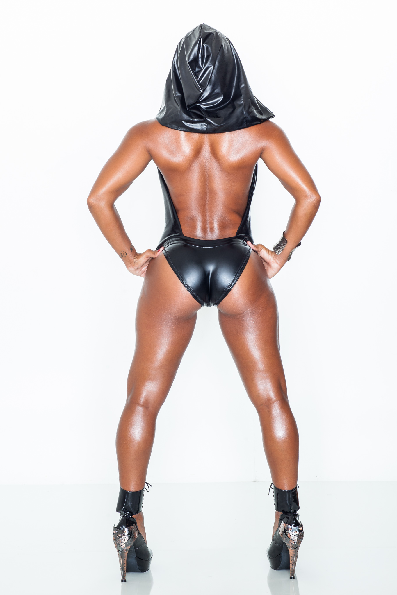 Latex Hooded Swimsuit