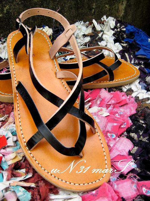 """Sandales femme en cuir noir """"Zebra"""""""