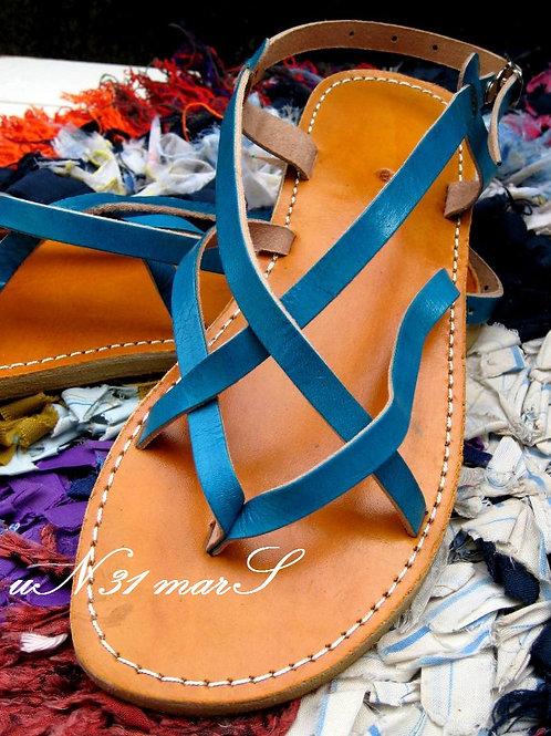 """Sandales pour femme """"Zebra"""" en cuir turquoise"""