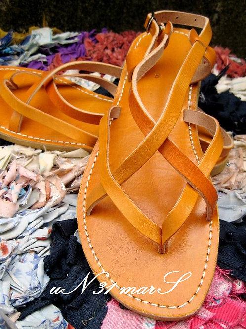 """Sandales """"Zebra"""" en cuir camel"""