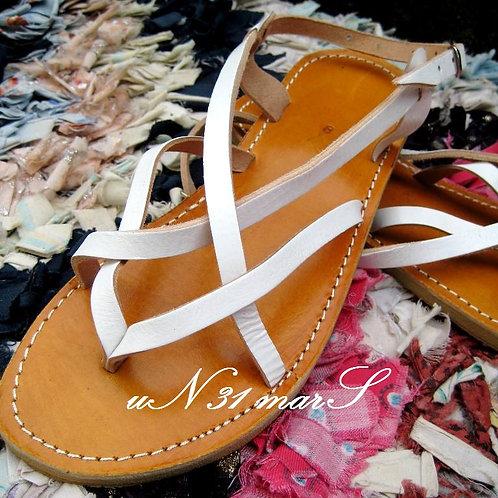 """Sandales pour femme """"Zebra"""" en cuir blanc"""