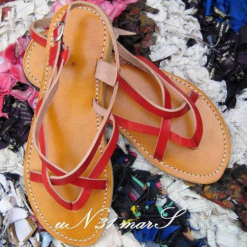 """Sandales pour femme """"Zebra"""" en cuir rouge"""