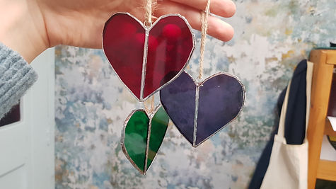 Red, Green and Purple Glass Hearts
