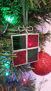Green and Red glass parcel