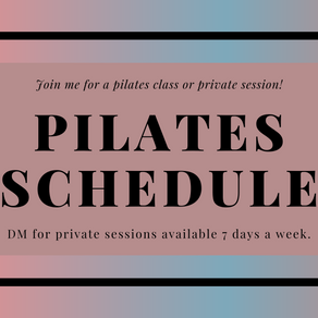 Pilates Teaching Schedule