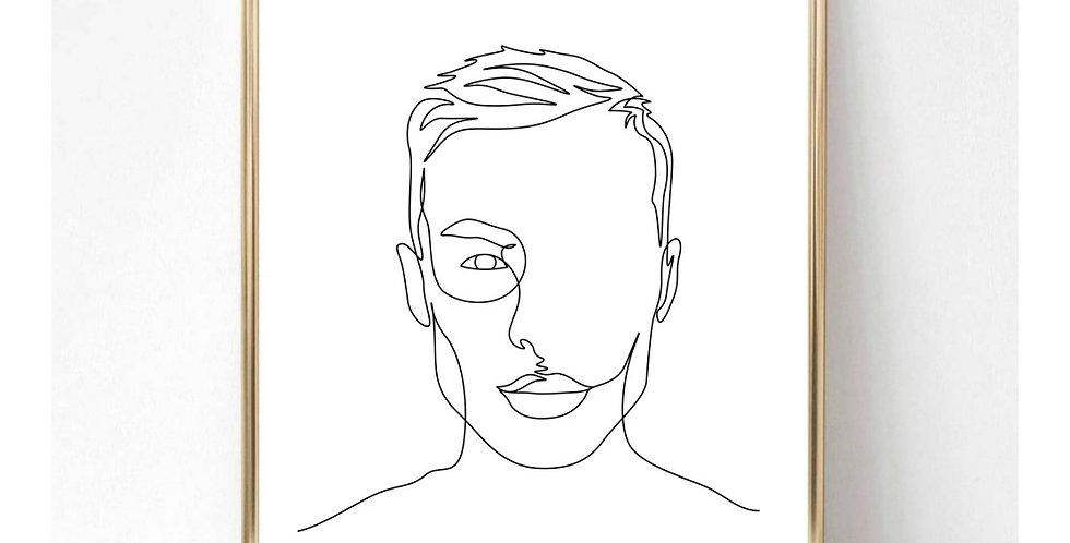 MANS FACE LINE ART