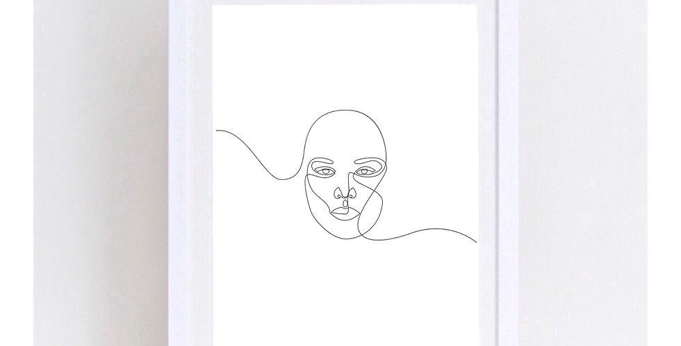 WOMANS FACE LINE ART