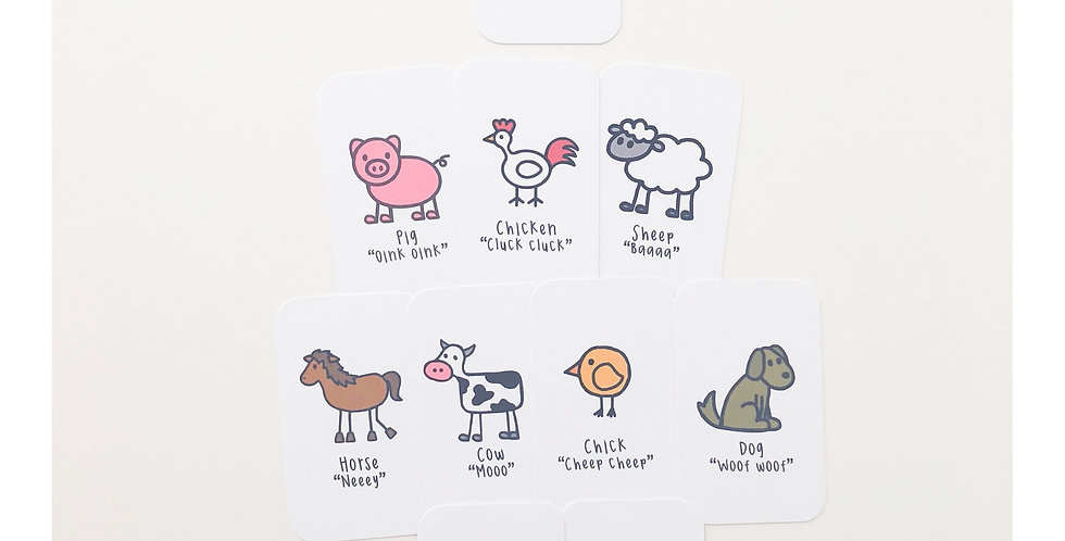Farm animals and sounds flashcards