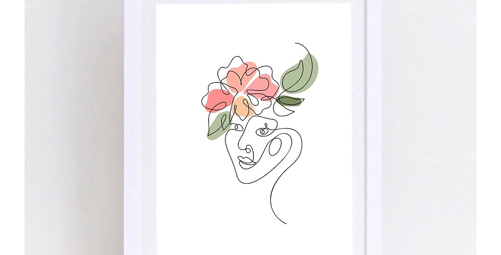 FLOWER FACE LINE ART