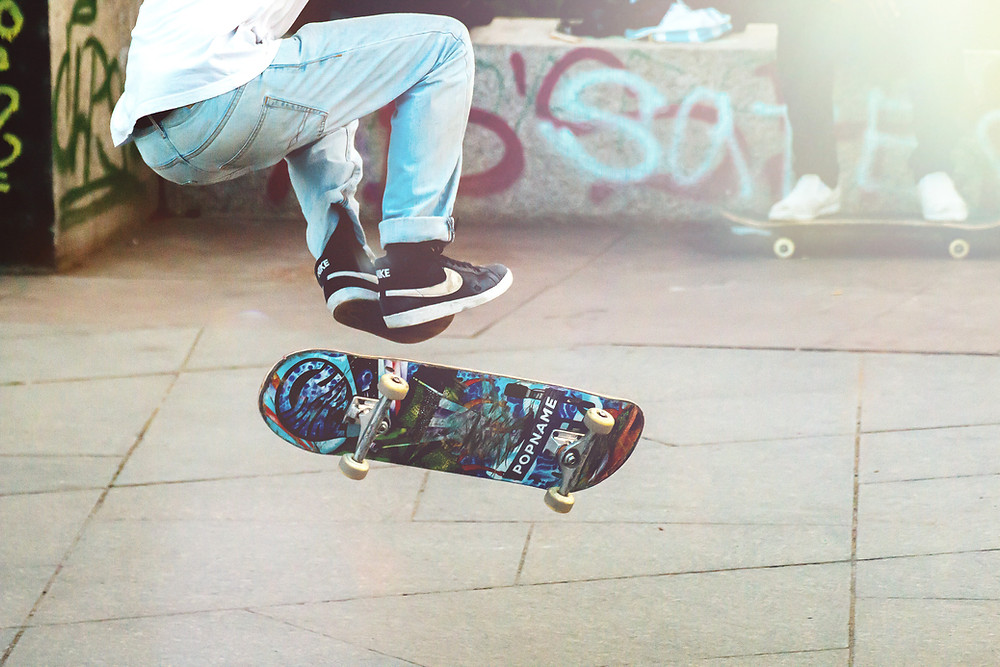 Prevent a sprained ankle. Person skateboarding.
