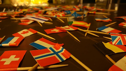 Flags on a table