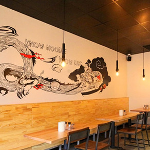 Brushdecor hand painted murals at Japanese restaurant MiAN noodle house in Virginia.