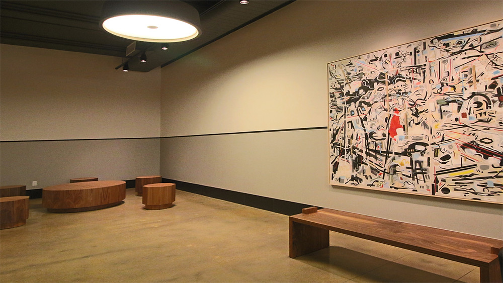 Abstract painting on a modern interior wall