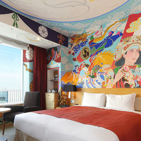 Hand-paint murals in rooms for park hotel tokyo